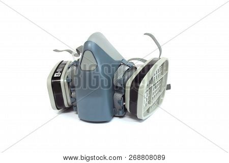 Multi-purpose Respirator Half Mask Or Toxic Dust Respirator Half Mask Isolated On White.