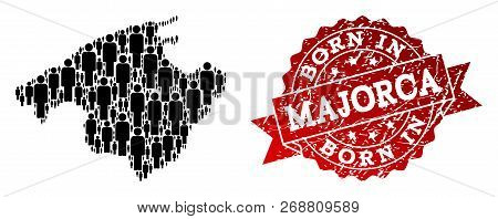 People Crowd Collage Of Black Population Map Of Majorca And Grunge Stamp. Vector Red Seal With Grung