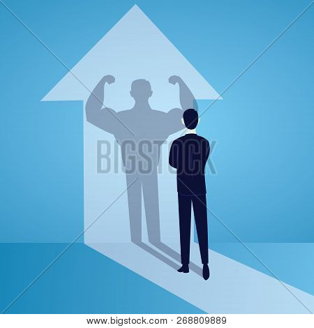 Vector Illustration. Business Power Concept. Businessman Standing In Front Of His Own Muscular Shado