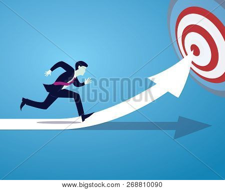 Vector Illustration Of Businessman Spint Running On Direction Arrow Symbol, Fast Business Reaching T