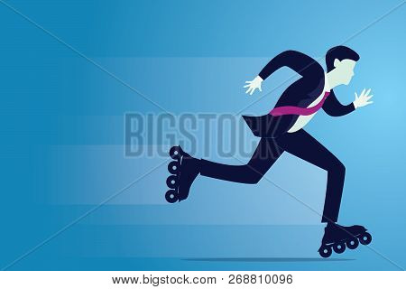 Vector Illustration Of Businessman Skating With Roller Blade, Fast Business Innovation Concept