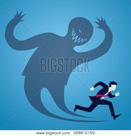 Vector illustration of businessman afraid runaway from his own inner shadow poster