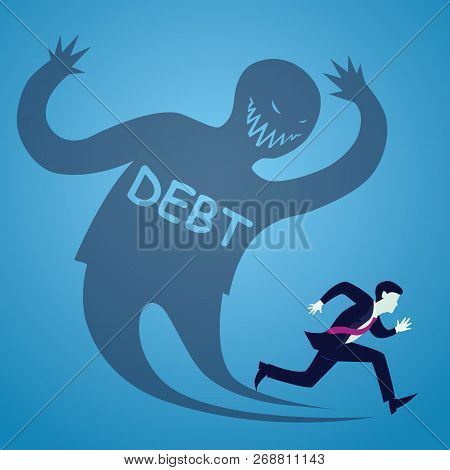 Vector Illustration Of Businessman Runaway From Debt, Haunted Shadow Concept