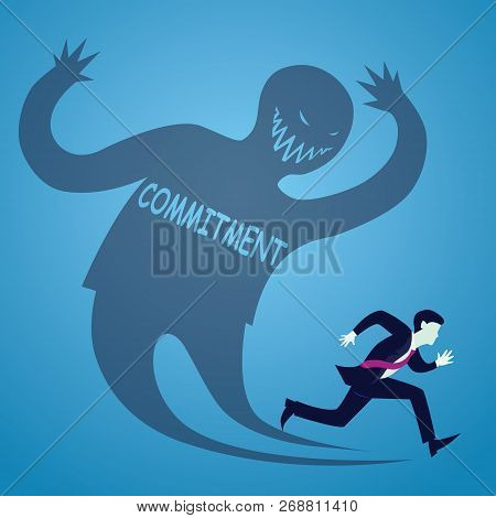 Vector Illustration Of Businessman Runaway Afraid Of Commitment, Haunted Self Shadow Concept