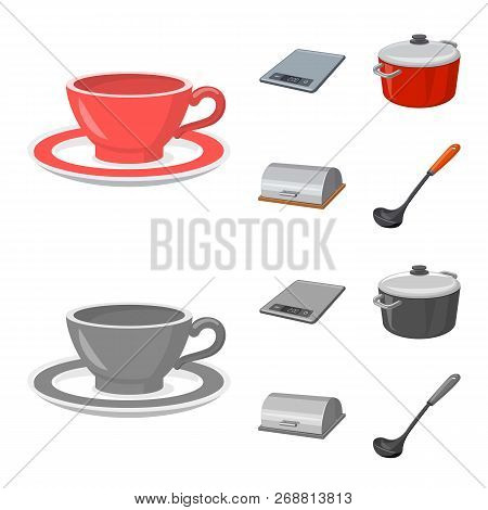 Vector Illustration Of Kitchen And Cook Logo. Collection Of Kitchen And Appliance Vector Icon For St