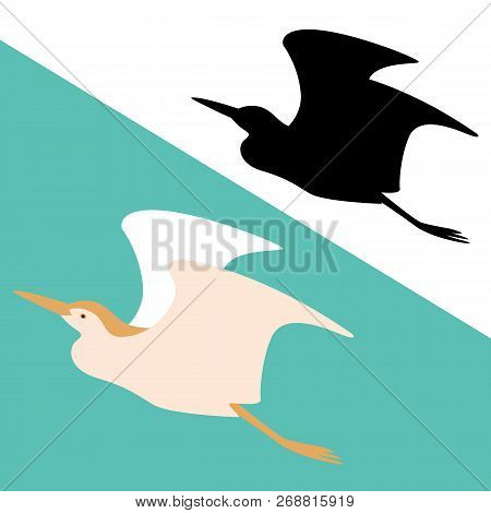 Heron  Vector Illustration  Flat Style  Black Silhouette  Profile View