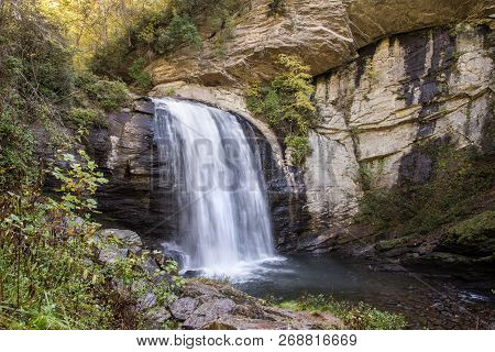 Looking Glass Falls In Nantahala National Forest.