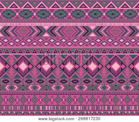 Navajo American Indian Pattern Tribal Ethnic Motifs Geometric Seamless Background. Impressive Native