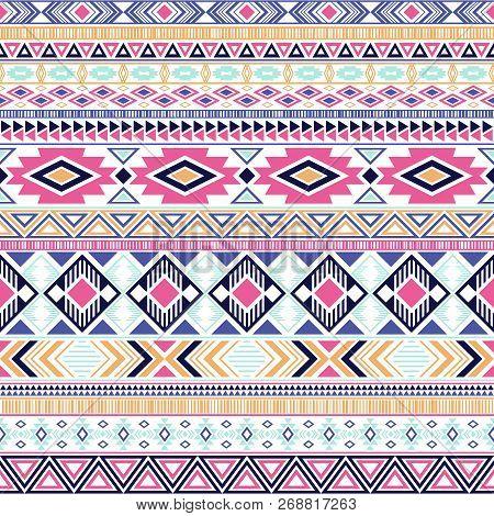 Aztec American Indian Pattern Tribal Ethnic Motifs Geometric Vector Background. Graphic Native Ameri