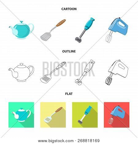 Isolated Object Of Kitchen And Cook Sign. Collection Of Kitchen And Appliance Stock Vector Illustrat