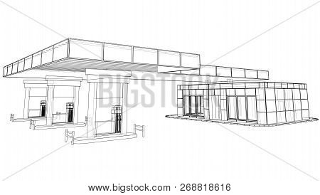 Gas Station. Vector Rendering Of 3d. Wire-frame Style. The Layers Of Visible And Invisible Lines Are