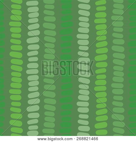 Abstract Green Seamless Vector Background. Green Hues Hand Drawn Horizontal Blocks In Vertical Rows