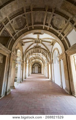 Tomar, Portugal - June 24, 2018:  View Of The Renaissance Architecture Of The Ambulatory Cloister In