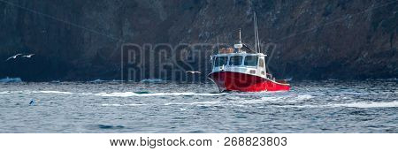Down East Style Lobster Boat At Coche Point And Chinese Harbor Off The Coast Of Santa Cruz Island In