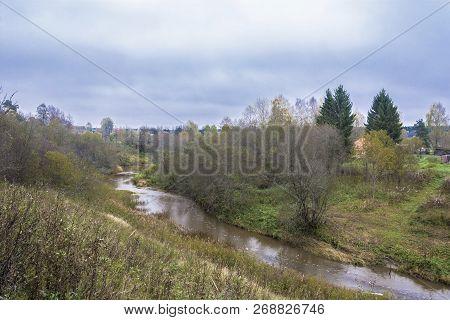 A Small River Ukhtom In The Village Kukoboya On A Dull Autumn Day, Yaroslavl Region, Russia.