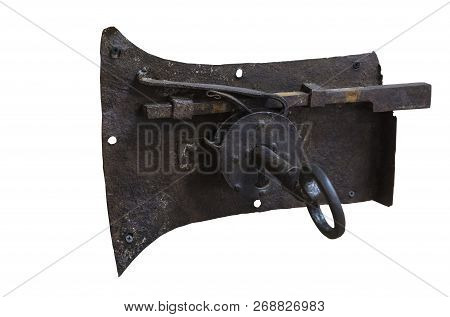 Old Rusty Large Iron Lock With A Unique Design Key On A White Background.