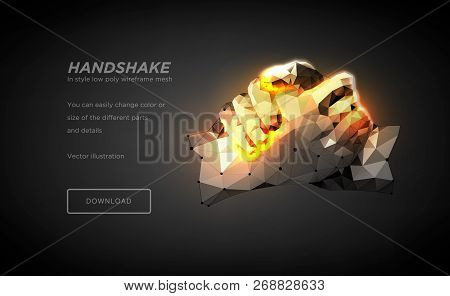 Handshake Polygonal Wireframe Art On Black Backgraund. Hands Of A Person Or A Robot. The Concept Of