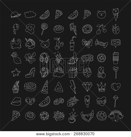 Cute Funny Girl Teenager Line Icon Set, Fashion Cute Teen And Princess Lined Icons - Pizza, Unicorn,