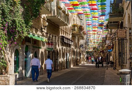 Jerusalem, Israel, August 5th. 2016 - Multicolored Umbrellas Above The Street Yoel Moshe Salomon In