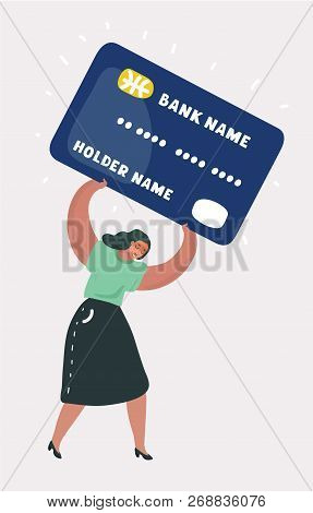 Vector Cartoon Illustration Of Shopping And Paying Woman With A Debit Heavy Card. Character On White
