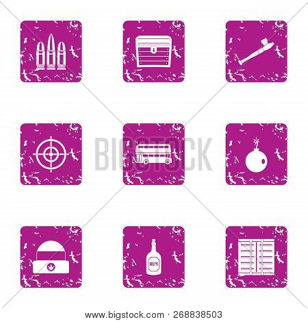 Gun icons set. Grunge set of 9 gun vector icons for web isolated on white background poster