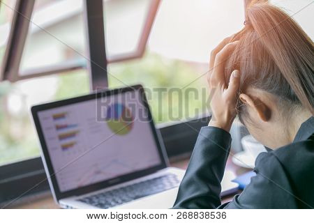 Frustrated Sad Woman Feeling Tired Worried About Problem  With  Business, Business Woman Stressed Fr