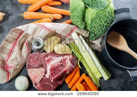 Meat And Vegetables For A Preparation Of Pot Au Feu