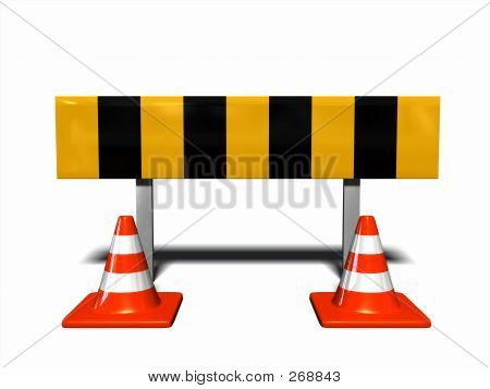 Under Construction - Traffic Warning With Traffic Cones