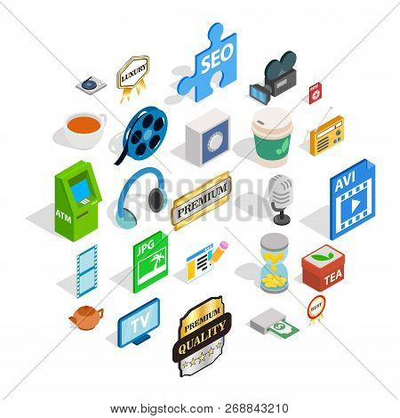 Atelier icons set. Isometric set of 25 atelier vector icons for web isolated on white background poster