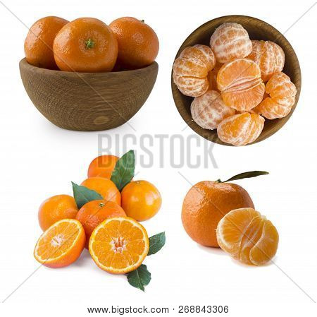 Set Of Fresh Mandarins. Ripe And Tasty Tangerines Isolated On White Background. Clementines On A Whi