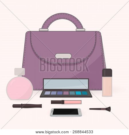 The Contents Of A Woman's Bag. Purse, Perfume, Cosmetics And Mobile Phone. Vanity Table. Concept Of