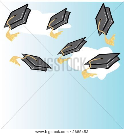Throwing Graduation Caps With Clouds