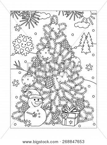 Winter Holidays, New Year Or Christmas Joy Themed Coloring Page With Christmas Tree, Cheerful Snowma