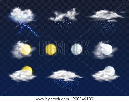 Set Of Weather Forecast App Realistic Vector Icons With Various Clouds, Sun And Moon Disks Illustrat