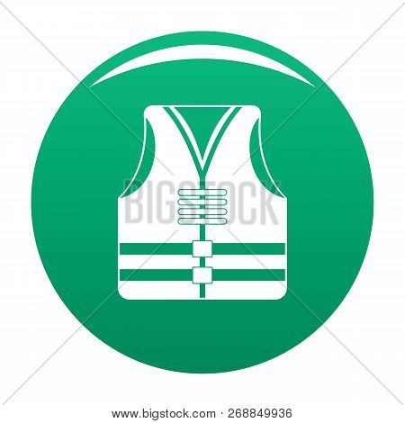 Rescue Vest Icon. Simple Illustration Of Rescue Vest Vector Icon For Any Design Green