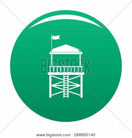 Rescue Tower Icon. Simple Illustration Of Rescue Tower Vector Icon For Any Design Green