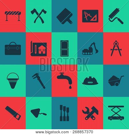 Construction Icons Set With Putty Knife, Water Crane, Construction Wheelbarrow And Other Machinery E