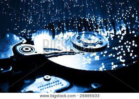Fiberoptik-Hintergrund mit vielen Lichtpunkte