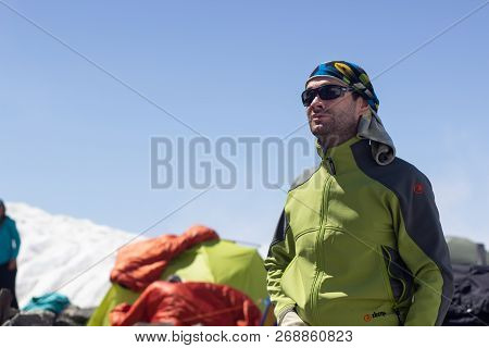 Chamonix-mont-blanc, France - August 11, 2018: Tents Climbers Are On The Base Camp On A Sunny Day.