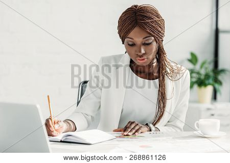 African American Adult Adult Businesswoman Working On Project And Sitting At Computer Desk With Cup