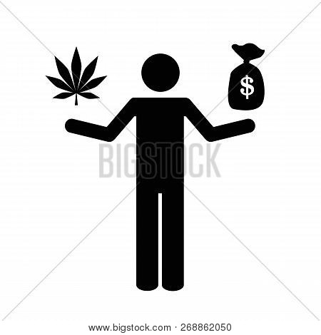 Person Makes Money With Cannabis Pictogram Vector Illustration Eps10