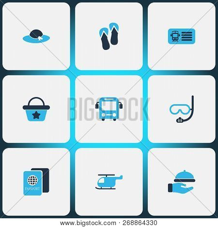 Tourism Icons Colored Set With Bus, Hat, Underwater Mask And Other Scuba Elements. Isolated  Illustr
