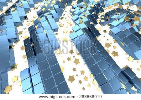 Gold Or Platinum Stars Flying Over White Background And Blue Box Matrix Space. Modeling 3d Illustrat