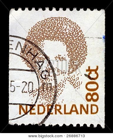 NETHERLANDS-CIRCA 1991:A stamp printed in NETHERLANDS shows image of Beatrix  is the Queen regnant of the Kingdom of the Netherlands comprising the Netherlands, Curacao, Sint Maarten, circa 1991.