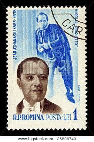 ROMANIA-CIRCA 1964:A stamp printed in ROMANIA shows image of Jean Athanasiu was a baritone Romanian, circa 1964.
