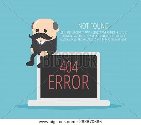 Elderly Businessman Sat On His Tablet At An Error.404 Error Page Design Concept. Laptop Screen