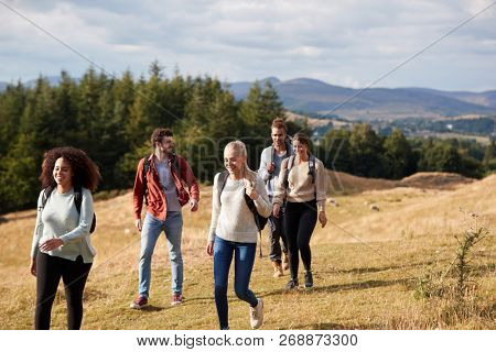 Multi ethnic group of five happy young adult friends talking as they walk on a rural path during a mountain hike poster