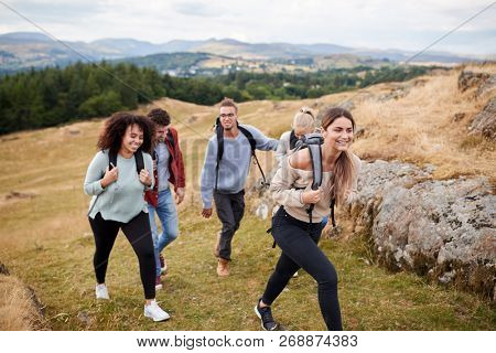 Multi ethnic group of five young adult friends hiking across a field uphill towards the summit, close up poster