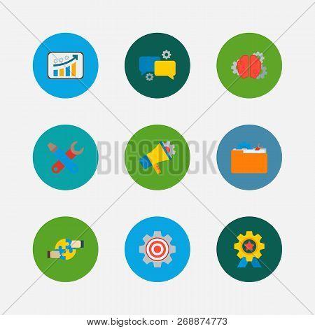 Technology Partnership Icons Set. Cooperation And Technology Partnership Icons With Marketing, Growt