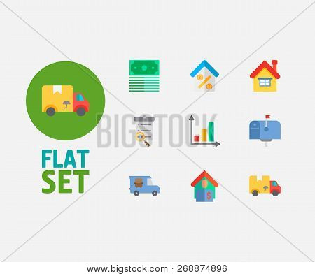Property Icons Set. Mail Box And Property Icons With Tenant, Home Loan And Transfer Truck. Set Of Gr